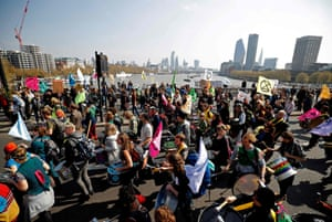 Environmental protesters from the Extinction Rebellion arrive on Waterloo Bridge to stage a demonstration