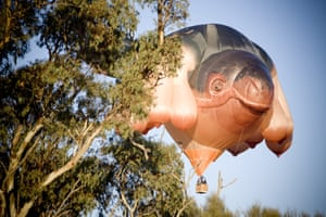 The infamous Skywhale makes its maiden flight over Western Victoria, in May 2013.