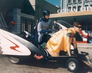 Batman and Robin take the Batcycle out for a spin