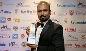 Subaskaran Allirajah with the Lycamobile Sportsman of the Year award won by Lewis Hamilton at the British Ethnic Diversity Sports Awards 2016.