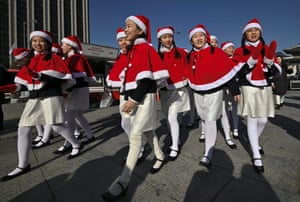 Seoul, South Korea. Children wait to perform during a ceremony to launch a Salvation Army fundraising campaign for underprivileged people