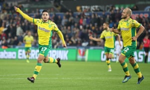 Norwich's Emi Buendia celebrates scoring his side's second goal against Swansea.