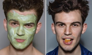 Two pictures, side by side, of the same male model, one with a green face-pack on, the other with an orange gummy bear between his teeth