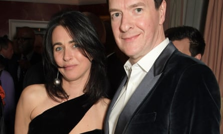 Emily Sheffield with George Osborne at a pre-Bafta awards party in London in February 2020