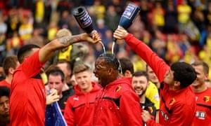 Watford celebrate their promotion to the Premier League last season