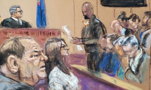 The jury foreman reads the verdict in film producer Harvey Weinstein's sexual assault trial in New York City.