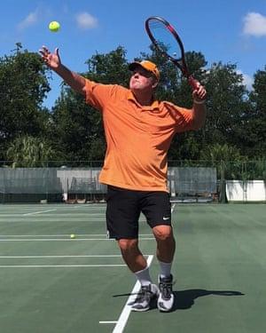 Roscoe Tanner practising in Orlando in June 2019