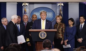 US President Donald Trump arrives to speak in the briefing room of the White House, Monday, March, 9, 2020, about the coronavirus outbreak.