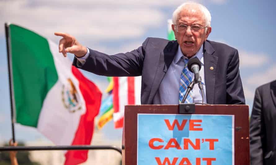 Bernie Sanders speaks on the National Mall in Washington in June.