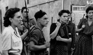 An armed group of Italian partisans in Pistoia, December 1944.