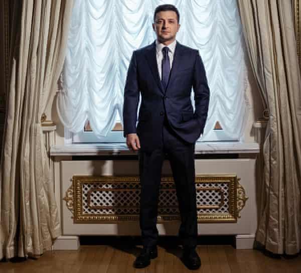 Portrait of Volodymyr Zelenskiy (president of Ukraine) in Kyiv, Ukraine, February 2020