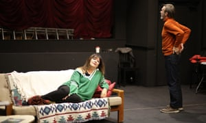 Bright, barbed … Josie Lawrence and Joe McGann in rehearsal for Love-Lies-Bleeding.