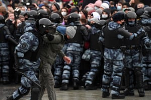 Police detain a protester during a rally in support of jailed opposition leader Alexei Navalny in downtown Moscow.