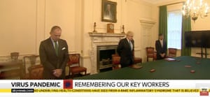 From left: Sir Mark Sedwill, Boris Johnson and Rishi Sunak observing the minute's silence in the cabinet room