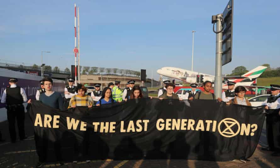 An Extinction Rebellion protest outside Heathrow airport, April 2019.