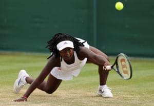 London, UK: Hephzibah Oluwadare of Great Britain stretches to play a forehand in her Girls' Singles First Round match against Sara Bejlek of The Czech Republic during Day Seven of The Championships