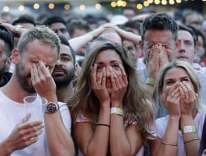 England fans watching the semi-final on a giant screen in south London react as to Ivan Perisic's equaliser for Croatia.