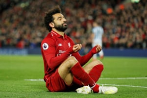 Mohamed Salah after scoring his second and Liverpool's fifth goal.