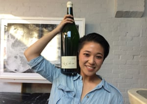Jess Ho with a magnum of vegan wine.