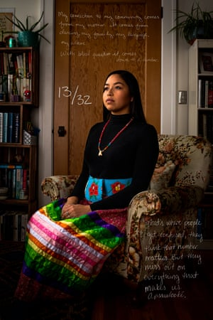 A US law passed in 1934 dictates that individuals must have a certain fraction of Indian blood, also known as blood quantum, to enroll as a tribal member. Reservation Mathematics: Navigating Love in Native America explores this issue and how it relates to dating for Native Americans. This photograph of Jordynn Paz, who is 13/32 Crow, is overlaid with text by Jordynn about blood quantum. Her future children would not meet her tribe's blood quantum requirements without a Crow tribal member fathering them