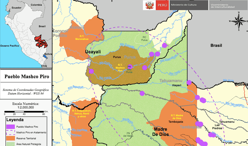 "Culture Ministry map showing areas inhabited by indigenous people living in ""isolation"", known as the ""Mashco-Piro"", in Ucayali, Madre de Dios and Cusco. A highway from the Purus province to Iñapari on the border with Brazil - see below for details - would cut right through this region. Photograph: Peru's Culture Ministry"