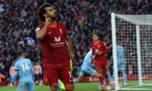 Mohamed Salah celebrates after scoring his superb goal to put Liverpool 2-1 up.