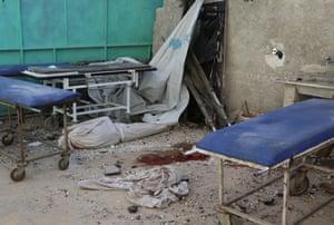 Sahra hospital after a barrel bomb strike by Syrian regime forces over Sahur