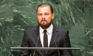 Leonardo DiCaprio speaking at the United Nations Climate Summit in 2014