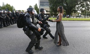 The Pepsi ad bears a visual similarity to this image of Ieshia Evans as she is charged by riot police in Baton Rouge, Louisiana.
