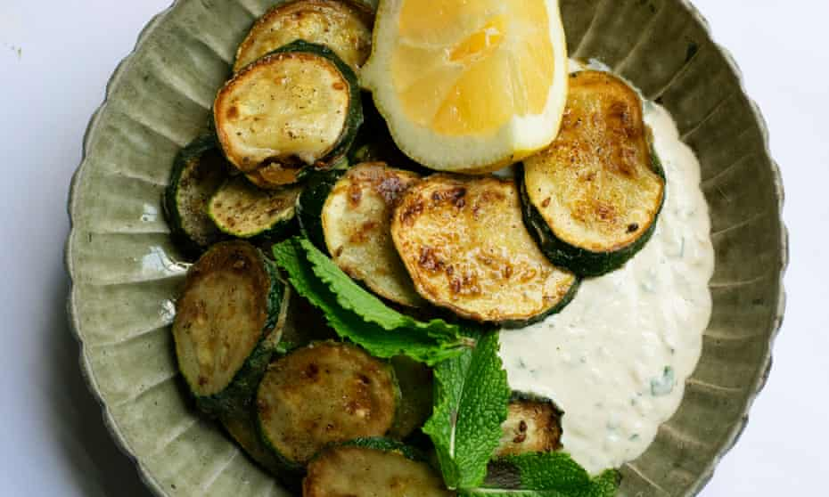 'If you prefer, use a little dried thyme in the flour instead of the za'atar. You could add a shake of paprika, too': courgettes with tahini.