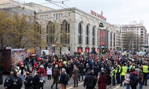 People protest against coronavirus measures in Berlin, Germany.