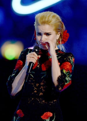 Flowery speech … Faith gets emotional as she receives the best British female solo artist award.