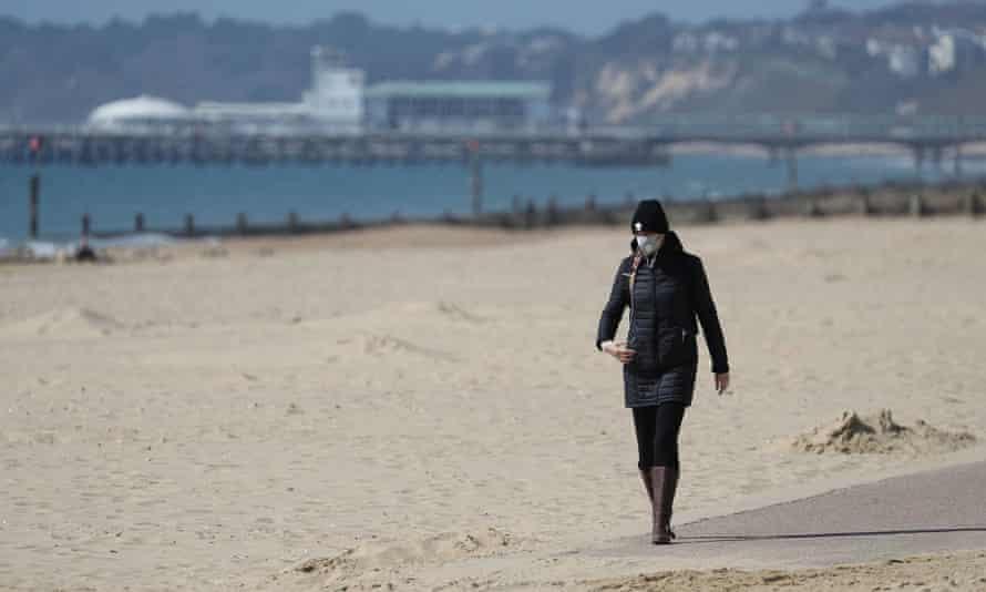 Boscombe beach near Bournemouth yesterday.