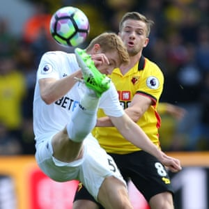 Swansea's Jay Fulton and Watford's Tom Cleverley