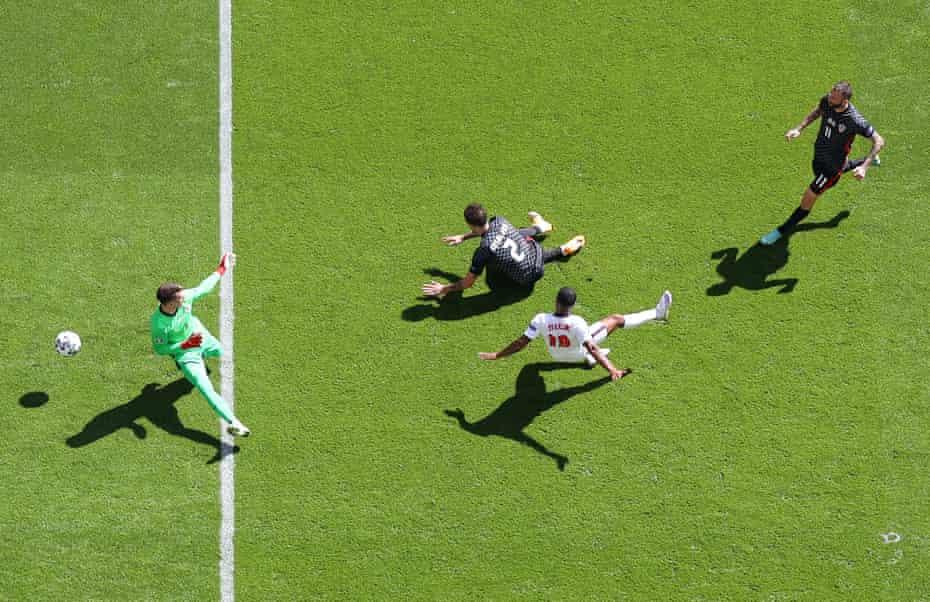 Raheem Sterling scoring for England against Croatia at Wembley last Sunday.
