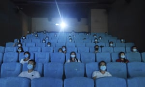 Movie-goers in a newly reopened cinema in Hangzhou on Monday 20 July 2020