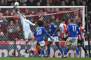 Luka Racic watches as his volley is saved by Leicester City goalkeeper Danny Ward.