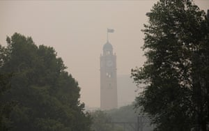 Sydney's Central Station clock tower seen through thick smoke