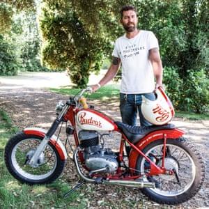 Andrew Almond with his custom Jawa bike.