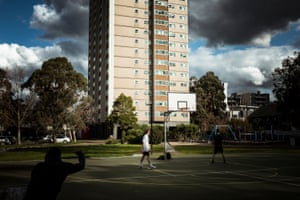 People playing basketball in Unity Park at the Collingwood complex.