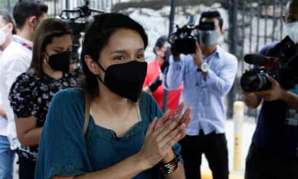 Berta Zuniga celebrates after a judge finds Roberto David Castillo guilty of being a collaborator in the 2016 murder of her mother, Berta Cáceres, in Tegucigalpa, Honduras.