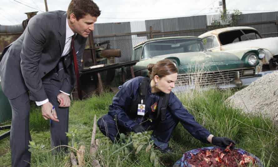Dr Bones and Angel from Buffy investigate a bag of minced person.