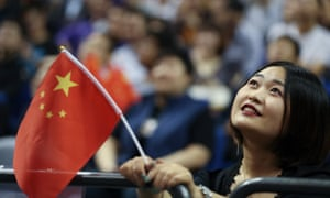 A Chinese fan at a pre-season game between the Los Angeles Lakers and Brooklyn Nets in Shanghai on Thursday