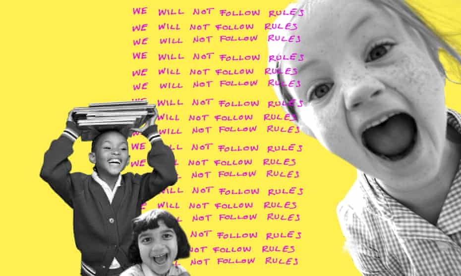 Composite image of children and lines saying 'I will not follow rules'