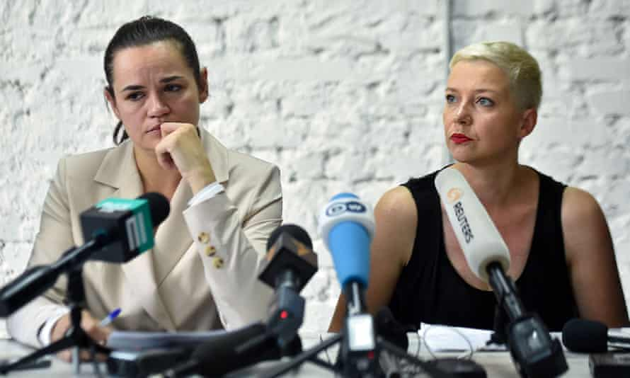 Svetlana Tikhanovskaya and her ally Maria Kolesnikova hold a press conference the day after Belarus' presidential election in Minsk.