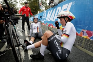 Exhausted German riders