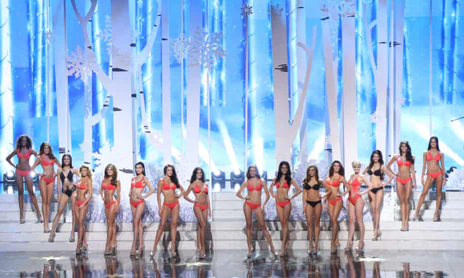 Contestants pose at the Miss Universe pageant on 9 November 2013 in Moscow, Russia.