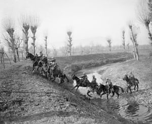William Joseph Brunell, Patrol of the Northamptonshire Yeomanry crossing a stream, early November 1918