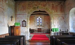 Interior of St Botolph's Parish Church, Hardham, West Sussex, UK