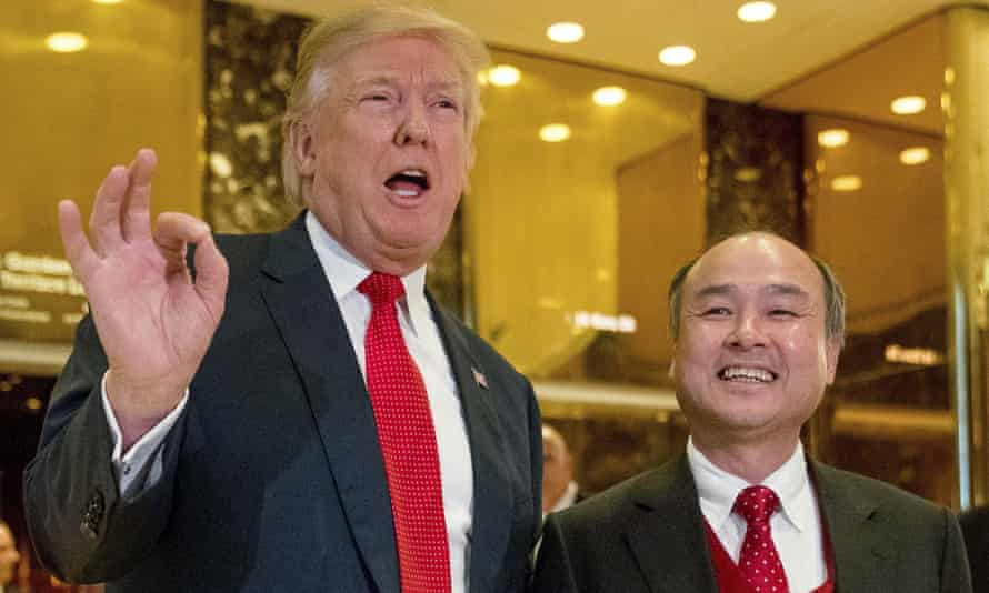 Donald Trump with Masayoshi Son in December 2016. Son has yet to comment publicly on his company's relationship with Saudi Arabia.